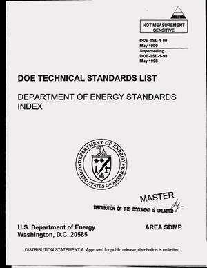 Primary view of object titled 'DOE technical standards list: Department of Energy standards index'.