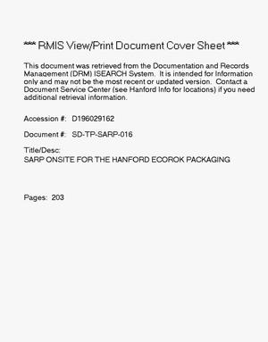 Primary view of object titled 'Safety analysis report for packaging (Onsite) for the Hanford Ecorok packaging'.