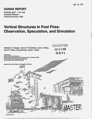 Primary view of object titled 'Vortical structures in pool fires: Observation, speculation, and simulation'.
