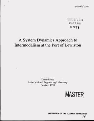 Primary view of object titled 'A system dynamics approach to intermodalism at the Port of Lewiston'.