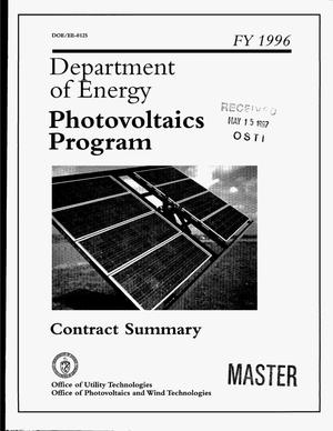 Primary view of object titled 'Department of Energy: Photovoltaics program - FY 1996'.
