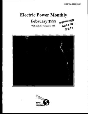 Primary view of object titled 'Electric power monthly, February 1999 with data for November 1998'.