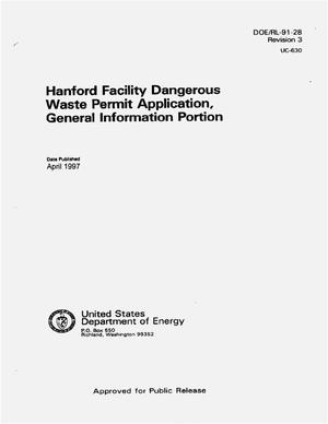 Primary view of object titled 'Hanford facility dangerous waste permit application, general information portion. Revision 3'.