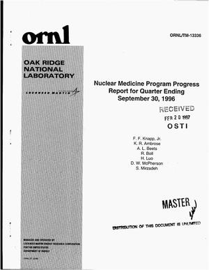 Primary view of object titled 'Nuclear medicine program progress report for quarter ending September 30, 1996'.