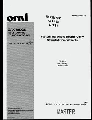 Primary view of object titled 'Factors that affect electric-utility stranded commitments'.