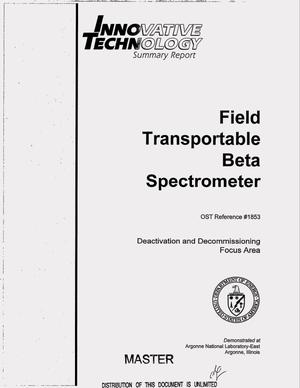 Primary view of object titled 'Field transportable beta spectrometer. Innovative technology summary report'.