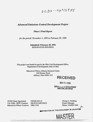 Primary view of object titled 'Advanced emissions control development project. Phase I, Final report, November 1, 1993--February 19, 1996'.