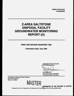 Primary view of object titled 'Z-Area Saltstone Disposal Facility groundwater monitoring report. First and second quarters 1996'.