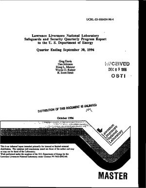 Primary view of object titled 'Lawrence Livermore National Laboratory safeguards and security quarterly progress report to the U.S. Department of Energy. Quarter ending September 30, 1996'.