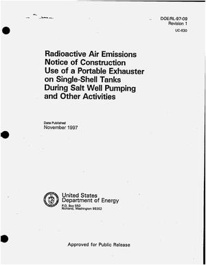 Primary view of object titled 'Radioactive air emissions notice of construction use of a portable exhauster on single-shell tanks during salt well pumping and other activities'.