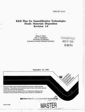 Primary view of object titled 'R&D plan for immobilization technologies: fissile materials disposition program. Revision 1.0'.