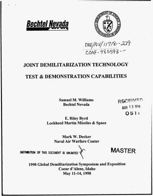 Primary view of object titled 'Joint demilitarization technology test and demonstration capabilities'.
