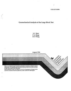 Primary view of object titled 'Geomechanical analysis of the large block test'.