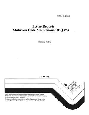 Primary view of object titled 'Letter report: status on code maintenance (EQ3/6)'.