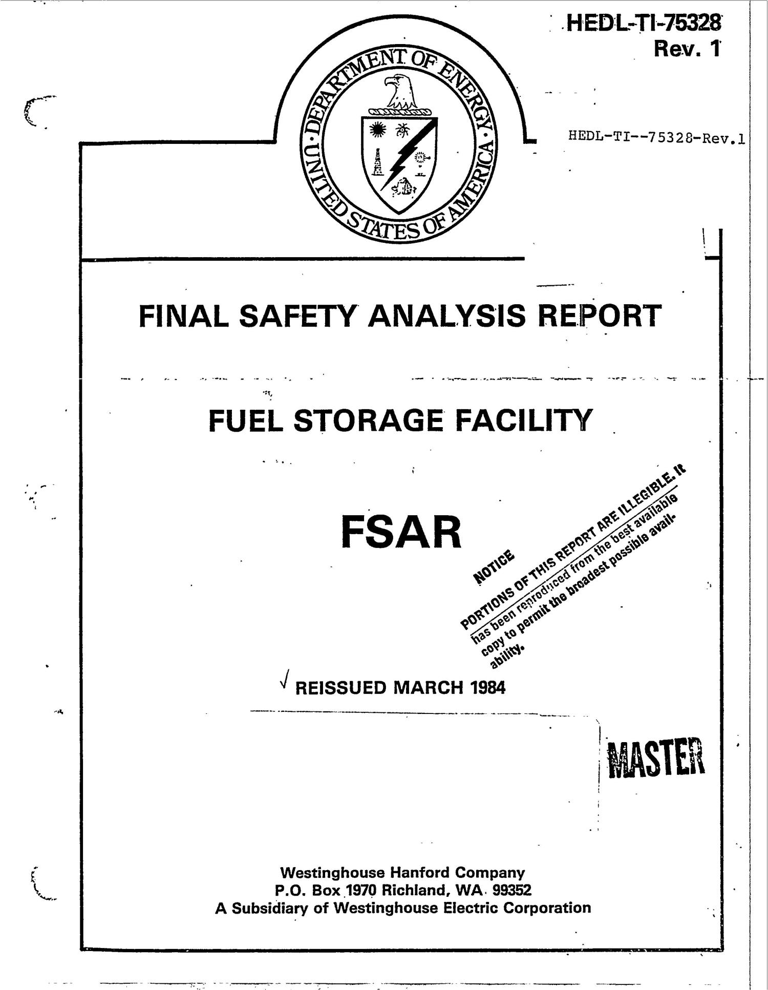 Fuel Storage Facility Final Safety Analysis Report. Revision 1                                                                                                      [Sequence #]: 1 of 604