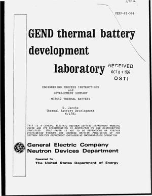 Primary view of object titled 'Engineering process instructions and development summary MC3642 thermal battery'.