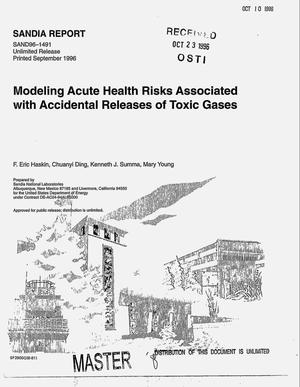 Primary view of object titled 'Modeling acute health risks associated with accidental releases of toxic gases'.