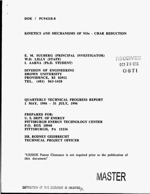 Primary view of object titled 'Kinetics and mechanisms of NO{sub x} - char reduction. Quarterly technical progress report, 1 May, 1996--31 July, 1996'.
