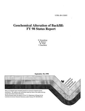 Primary view of object titled 'Geochemical alteration of backfill FY98 status report'.