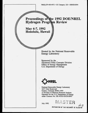 Primary view of object titled 'Proceedings of the 1992 DOE/NREL hydrogen program review'.