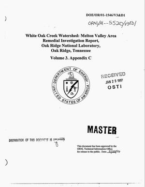 Primary view of object titled 'White Oak Creek Watershed: Melton Valley Area Remedial Investigation Report, Oak Ridge National Laboratory, Oak Ridge, Tennessee: Volume 3 Appendix C'.