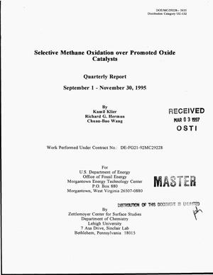 Primary view of object titled 'Selective methane oxidation over promoted oxide catalysts. Quarterly report, September 1 - November 30, 1995'.