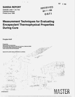 Primary view of object titled 'Measurement techniques for evaluating encapsulant thermophysical properties during cure'.