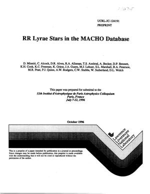 Primary view of object titled 'RR Lyrae stars in the MACHO database'.