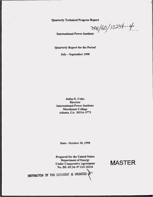 Primary view of object titled 'International Power Institute`s quarterly technical progress report, July--September 1998'.