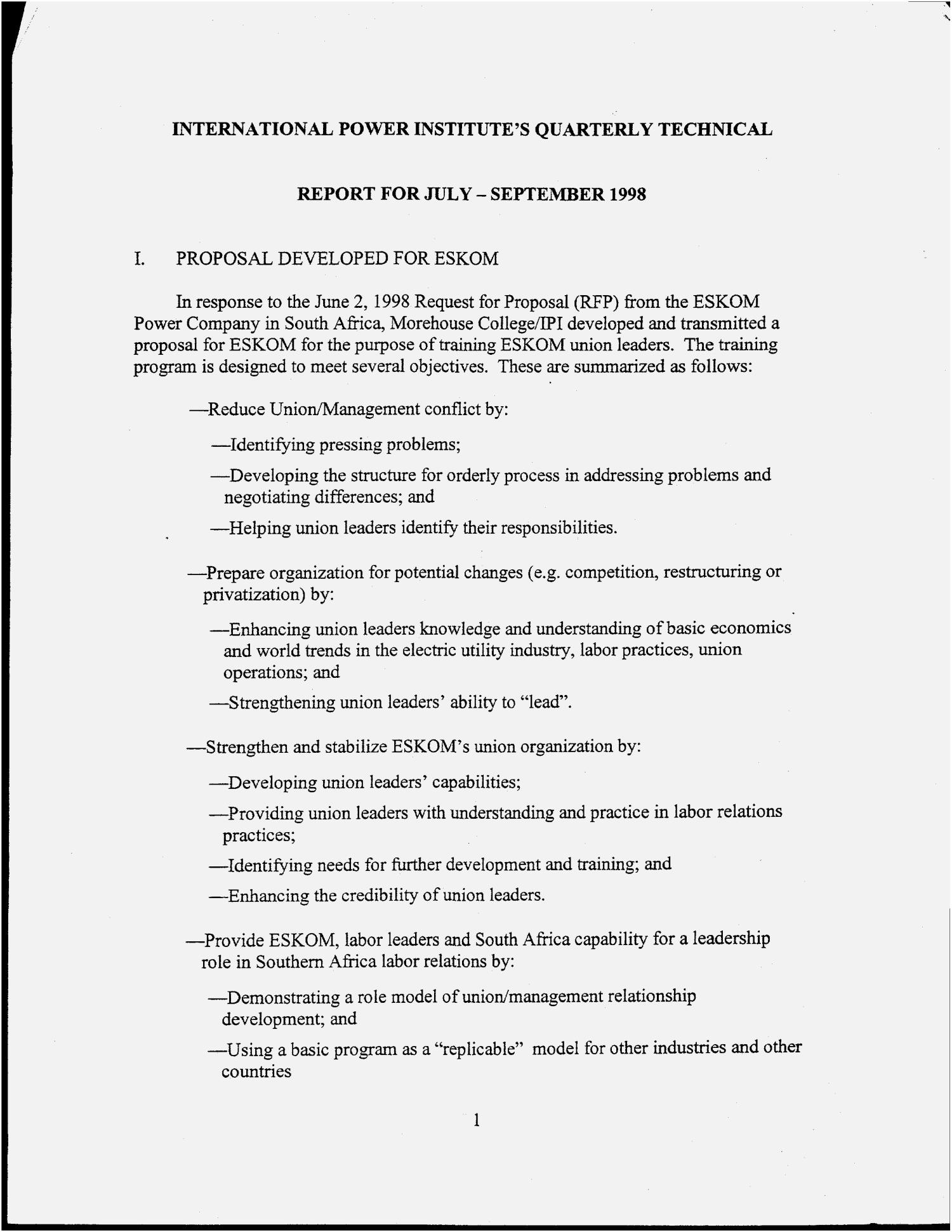 International Power Institute`s quarterly technical progress report, July--September 1998                                                                                                      [Sequence #]: 4 of 56