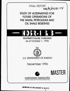 Primary view of object titled 'Phase II - final report study of alternatives for future operations of the naval petroleum and oil shale reserves NOSR 1 & 3, Colorado'.