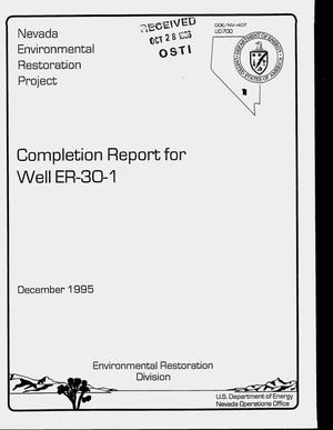 Primary view of object titled 'Completion report for well ER-30-1'.