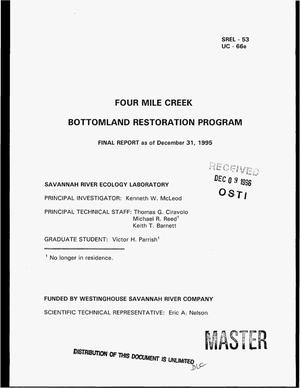 Primary view of object titled 'Four Mile Creek bottomland restoration program. Final report'.
