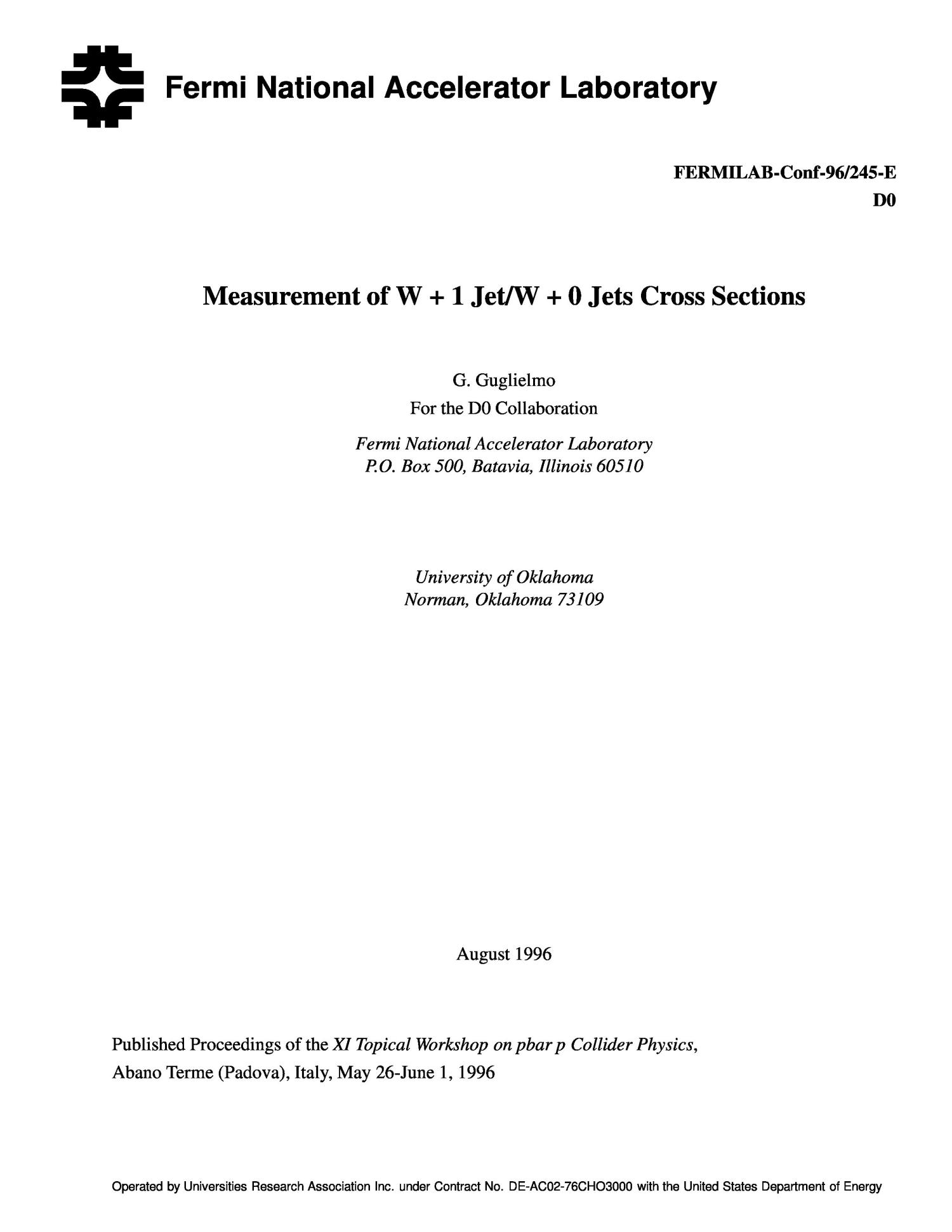 Measurement of W + 1 jet/W + 0 jets cross sections                                                                                                      [Sequence #]: 1 of 12