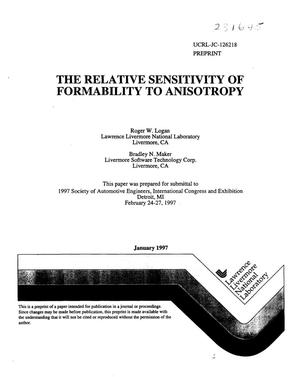Primary view of object titled 'Relative sensitivity of formability to anisotropy'.