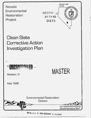 Primary view of object titled 'Clean slate corrective action investigation plan'.