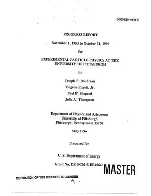 Primary view of object titled 'Experimental particle physics at the University of Pittsburgh. Progress report, November 1, 1995--October 31, 1996'.