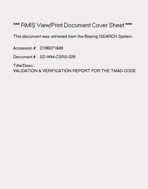 Primary view of object titled 'System verification and validation report for the TMAD code'.