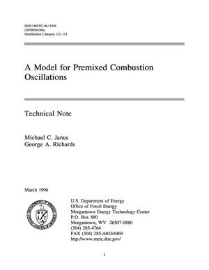 Primary view of object titled 'A model for premixed combustion oscillations'.