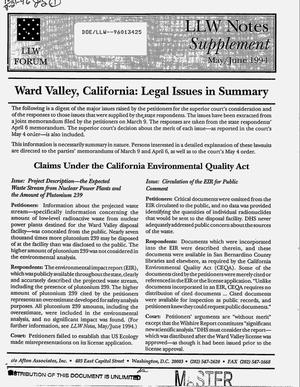 Primary view of object titled 'LLW Notes Supplement, May/June 1994: Ward Valley, California: Legal issues in summary'.