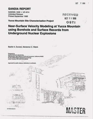 Primary view of object titled 'Near-surface velocity modeling at Yucca Mountain using borehole and surface records from underground nuclear explosions'.