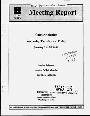 Primary view of object titled 'LLW Forum meeting report'.