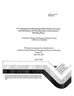 Primary view of object titled 'U.S. transparency monitoring of HEU oxide conversion and blending to LEU hexafluoride at three Russian blending plants'.