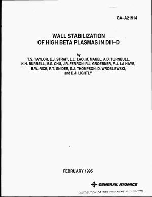 Primary view of object titled 'Wall stabilization of high beta plasmas in DIII-D'.