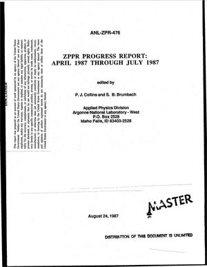 Primary view of object titled 'ZPPR progress report: April 1987-July 1987'.
