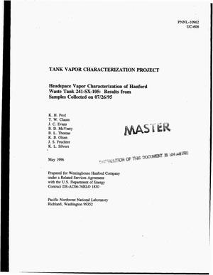 Primary view of object titled 'Headspace vapor characterization of Hanford Waste Tank 241-SX-105: Results from samples collected on July 26, 1995. Tank Vapor Characterization Project'.