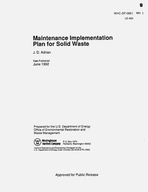 Primary view of object titled 'Maintenance implementation plan for solid waste management'.
