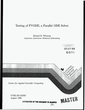 Primary view of object titled 'Testing of PVODE, a parallel ODE solver'.