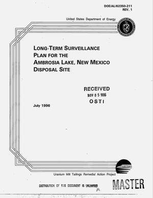 Primary view of object titled 'Long-term surveillance plan for the Ambrosia Lake, New Mexico disposal site'.