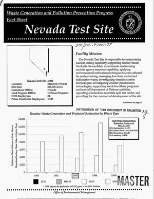 Primary view of object titled 'Waste generation and pollution prevention progress fact sheet: Nevada Test Site'.